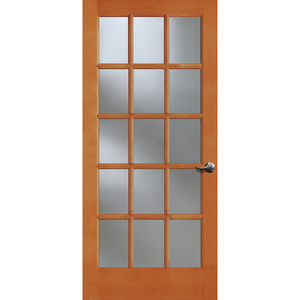 15-Lite Doug Fir Wood & Single Pane Clear Glass French Patio Door