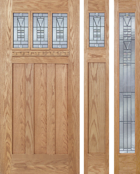 Allyson - Craftsman Design Oak Wood Door with Beveled Glass