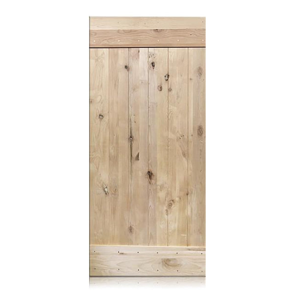Alessandro - Rustic Unfinished 1-Panel V-Groove Knotty Alder Barn Door (Free Shipping)