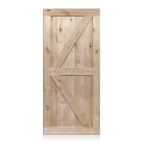 Nicolas - Rustic Unfinished 2-Panel V-Groove Knotty Alder Barn Door (Free Shipping)