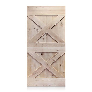 Esteban - Rustic Unfinished 2-Panel V-Groove Knotty Alder Barn Door (Free Shipping)