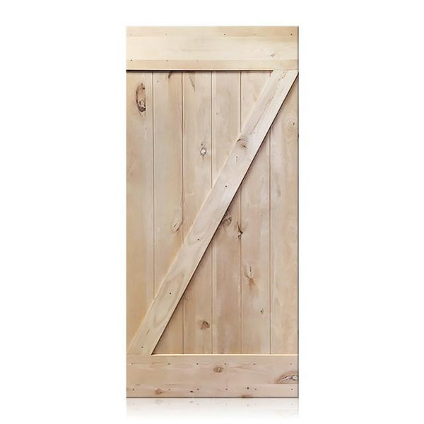Vicente- Rustic Unfinished 1-Panel V-Groove Knotty Alder Barn Door (Free Shipping)