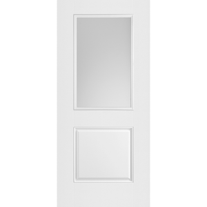 Belleville Smooth Fiberglass 1 Panel Door Half Lite with Clear Glass Classic Door