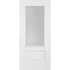 Belleville Smooth Fiberglass 1 Panel Hollister Door 3/4 Lite with Clear Glass Classic Door