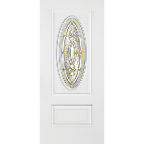 Belleville Smooth Fiberglass 2 Panel Hollister Door 3/4 Oval with Panama Glass Classic Door