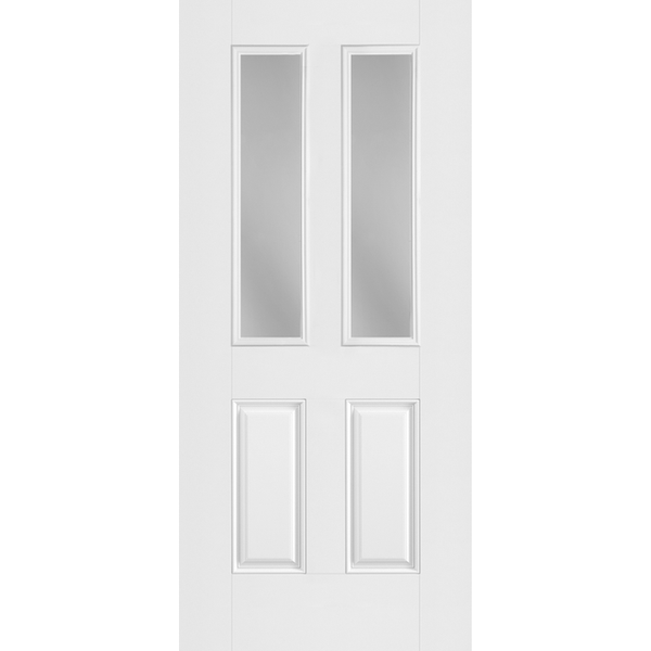 Belleville Smooth Fiberglass 2 Panel Twin Lite with Clear Glass Classic Door