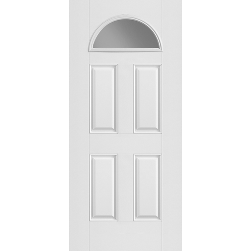 Belleville Smooth Fiberglass 4 Panel Door Fan Lite with Clear Glass Classic Door