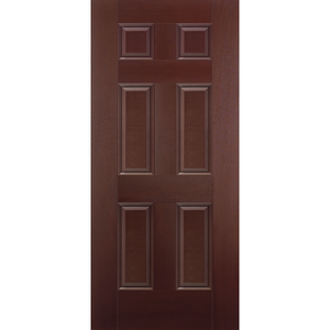 Belleville Smooth Fiberglass 6 Panel Mahogany Classic Door