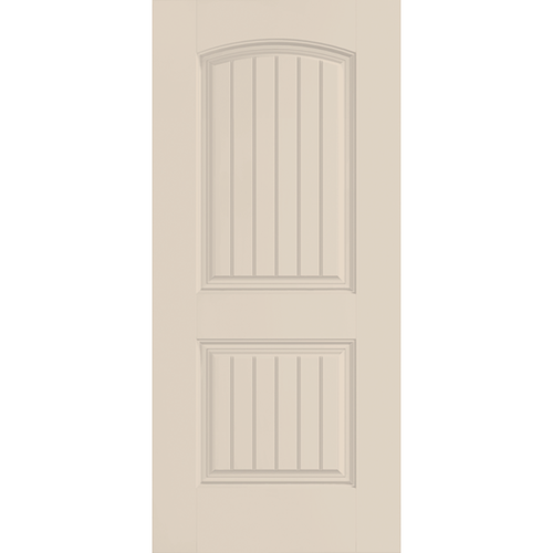 Belleville Smooth Fiberglass Cheyenne Style Cottage 2 Panel Arch Top Grooved Classic Door