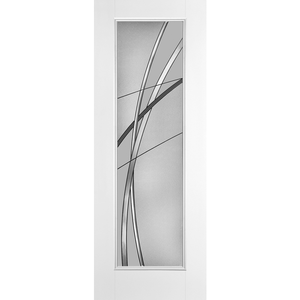 Belleville Smooth Fiberglass Full Lite Modern Door with Kordella Glass with Antique Black Caming (8-0ft)