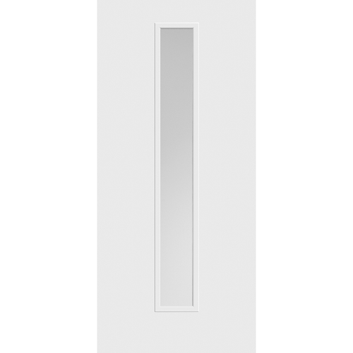 Belleville Smooth Fiberglass Vertical 1-Lite (Center) Pearl Glass Modern Door