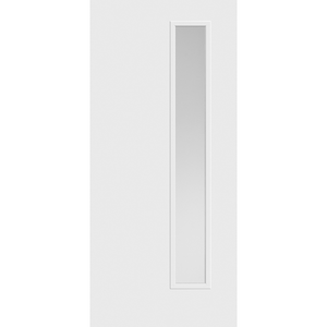 Belleville Smooth Fiberglass Vertical 1-Lite (Right-Side) Pearl Glass Modern Door