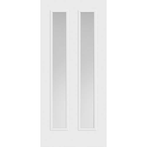 Belleville Smooth Fiberglass Vertical 2-Lite Pearl Glass Modern Door