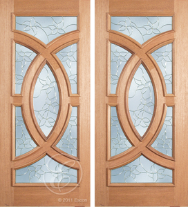 Cayden - One Side Raised Moulding Mahogany Wood Exterior Double Doors with Beveled Glass