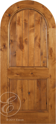 Esteban - Spanish Solid Rustic Knotty Alder Wood Arch Door Including Decoartive Hardware