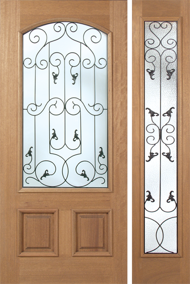 Federico - Spanish Solid Rustic Mahogany Wood Door with Decorative Iron Work Between Glass