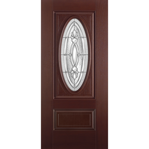 Belleville Smooth Fiberglass 2 Panel Hollister Door 3/4 Oval with Panama Glass Mahogany Classic Door