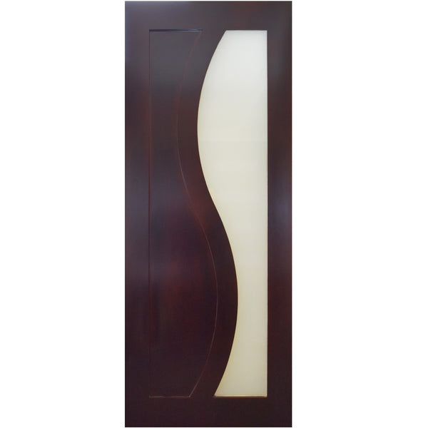 Galileo - Interior Modern Flush Mahogany Wood Door with White Laminate Glass