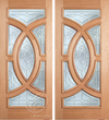 Grant - One Side Raised Moulding Mahogany Wood Exterior Double Doors with Beveled Glass