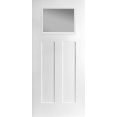 Heritage Smooth Fiberglass 2 Panel Lite with Clear Low-E Glass Craftsman Door