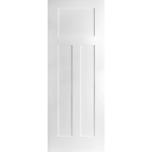 Heritage Smooth Fiberglass 3 Panel Solid Craftsman Door