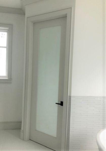 Interior 1-Lite White Laminate Glass Primed Door