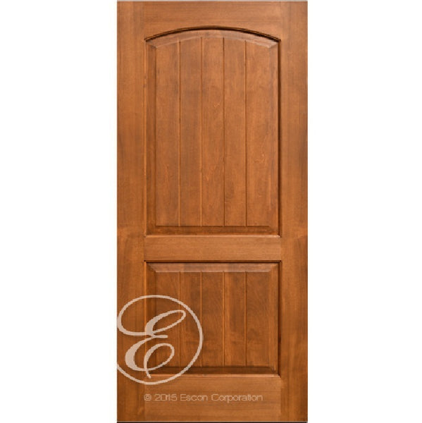 Interior 2-Panel V-Grooved Arch Top Knotty Alder Wood Door