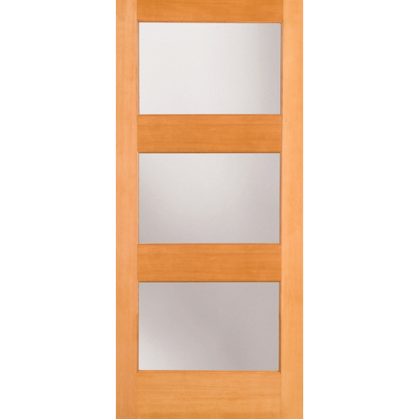 Interior Contemporary 3-Lite Doug Fir Wood & White Laminate Glass Door
