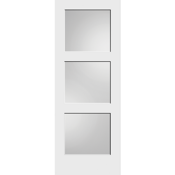 Interior Contemporary 3-Lites White Laminate Glass Primed Shaker Style Door