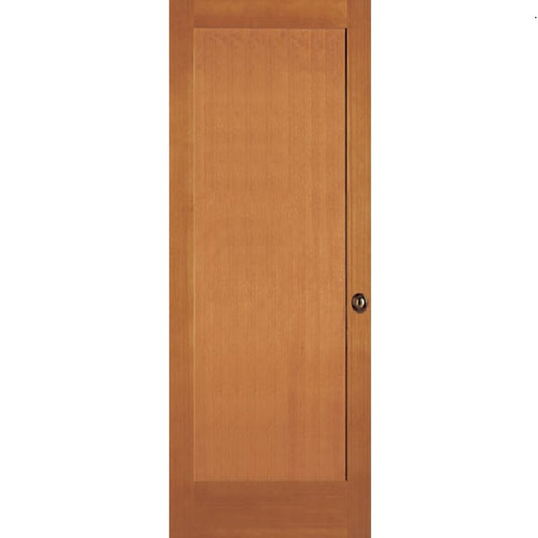 Interior Flat 1-Panel Shaker Stain Grade Doug-Fir Wood Door
