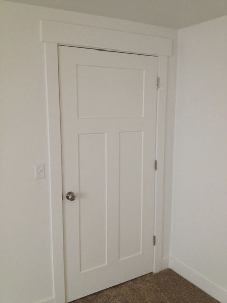 Interior Flat 3-Panel Craftsman Shaker Primed Door