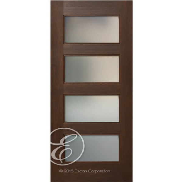 Interior Modern 4-Lites Etched Glass Panel Mahogany Wood Door