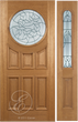 Jovani - One Side Raised Moulding Mahogany Wood Exterior Door with Beveled Glass