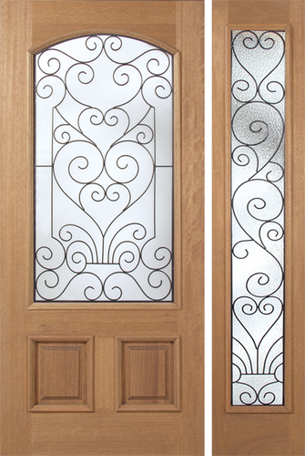 Marcel - Spanish Solid Rustic Mahogany Wood Door with Decorative Iron Work Between Glass
