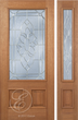Marcos - One Side Raised Moulding Mahogany Wood Exterior Door with Beveled Glass