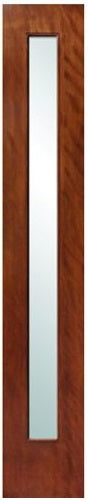 California  - Modern Mahogany Wood & White Laminated Glass Entry Solid Door
