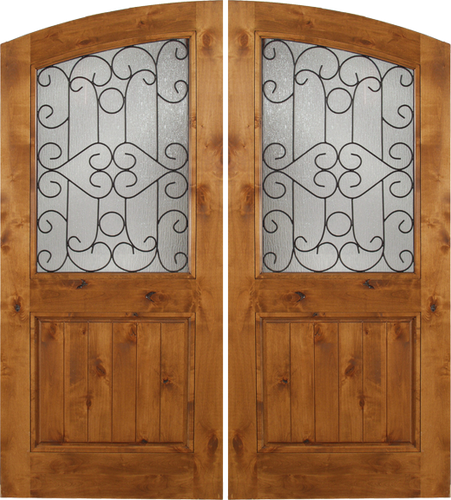 Noble - Spanish Solid Rustic Knotty Alder Wood Arch Double Doors with Decorative Iron Work