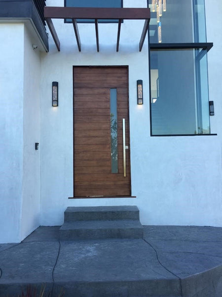 Nobu - Modern Mahogany Wood & White Laminated Glass Entry Solid Door