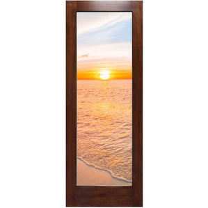 One Lite Modern Mahogany Wood & Clear Glass French Patio Door