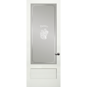 Pantry Frosted Decorative Glass Primed Panel Bottom Door