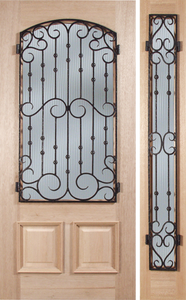 Picasso - Spanish Solid Rustic Mahogany Wood Door with Decorative Iron Work