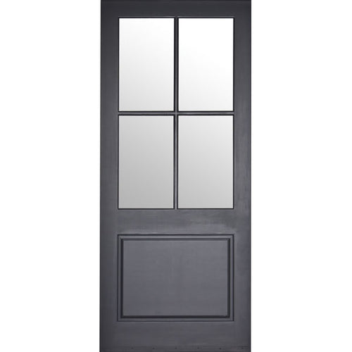 Quatro - 4-Lite Mahogany Wood Entry Solid Door with Clear Glass