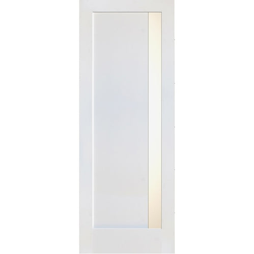 Interior Primed Modern Door with Vertical 1-Lite Frosted Glass