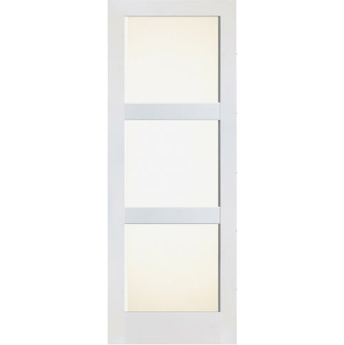 Interior Primed Modern Door with Horizontal 3-Lite Frosted Glass
