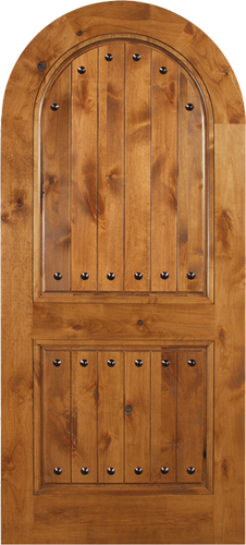 Sebastian - Spanish Solid Rustic Knotty Alder Wood Arch Door Including Decorative Hardware