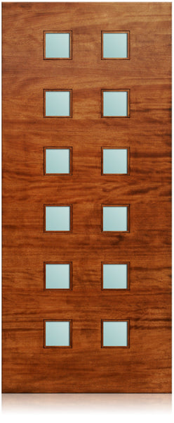 Trinity - Modern Mahogany Wood & White Laminated Glass Entry Solid Door