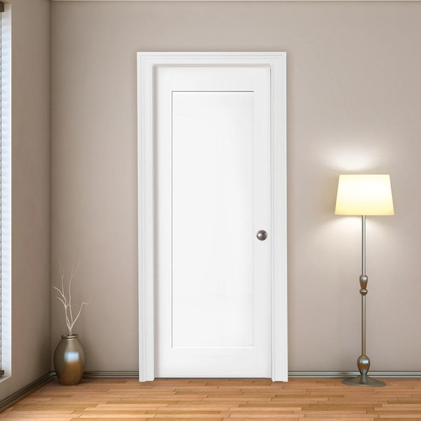 Interior 20-Min Fire Rated Shaker Flat 1-Panel Primed Door
