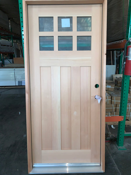 Wright - Craftsman Doug Fir Wood with Clear Glass Entry Door