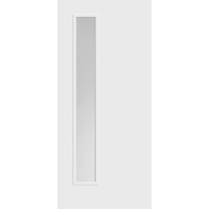 Belleville Smooth Fiberglass Vertical 1-Lite (Left-Side) Pearl Glass Modern Door
