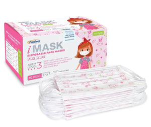 PacDent iMASK Disposible Face Masks for Kids - Level 3 - 50ct - Pink Bunny